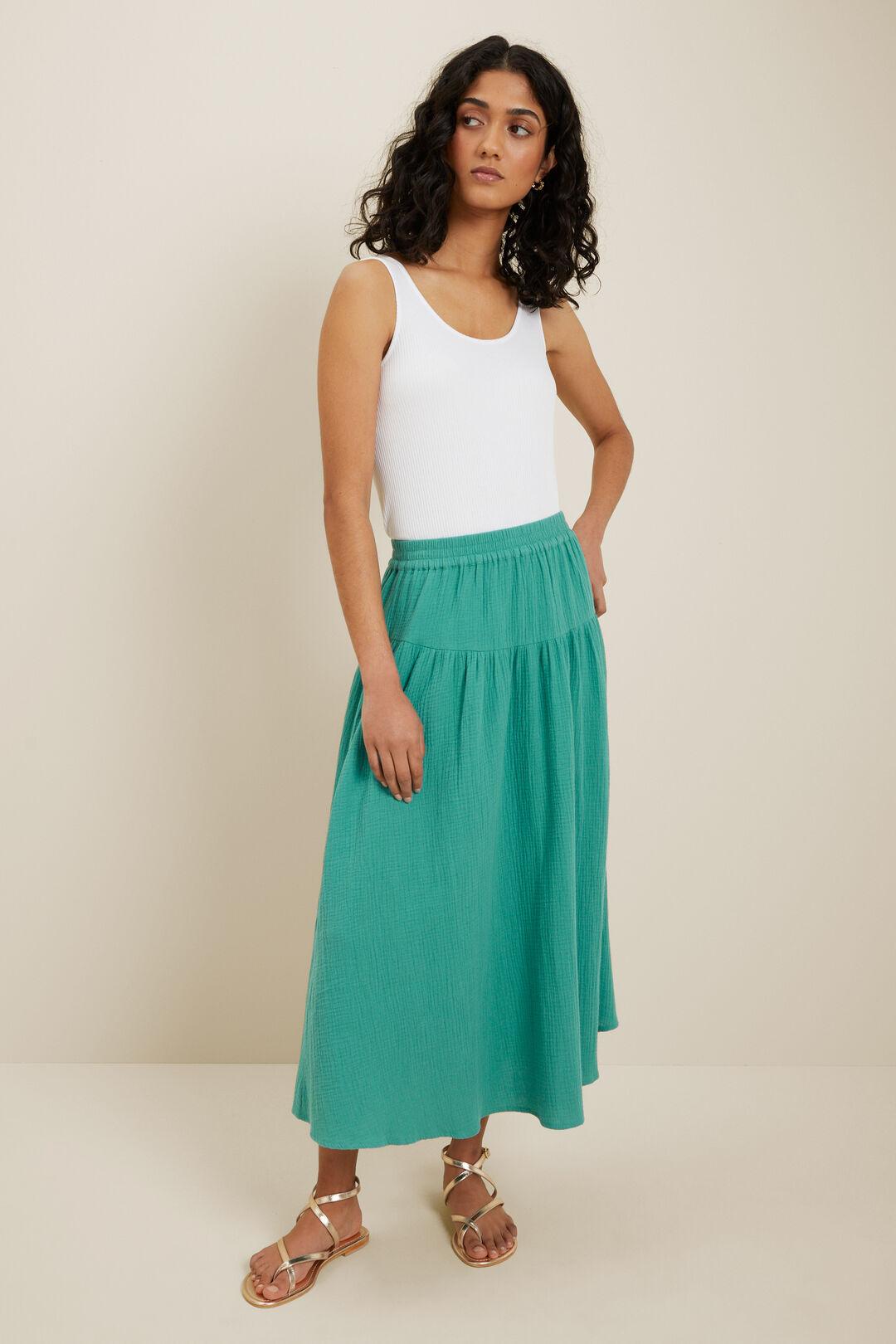 Cheesecloth Midi Skirt  Deep Aqua  hi-res