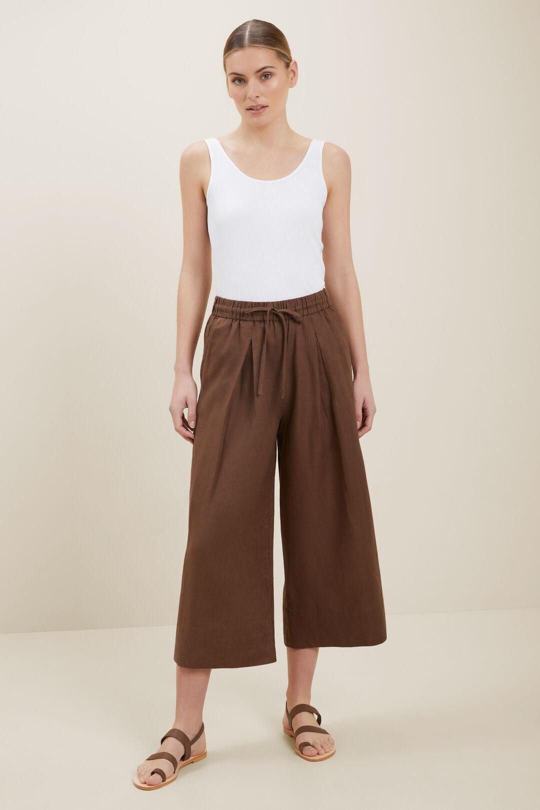 Linen Culottes  Russet Brown  hi-res