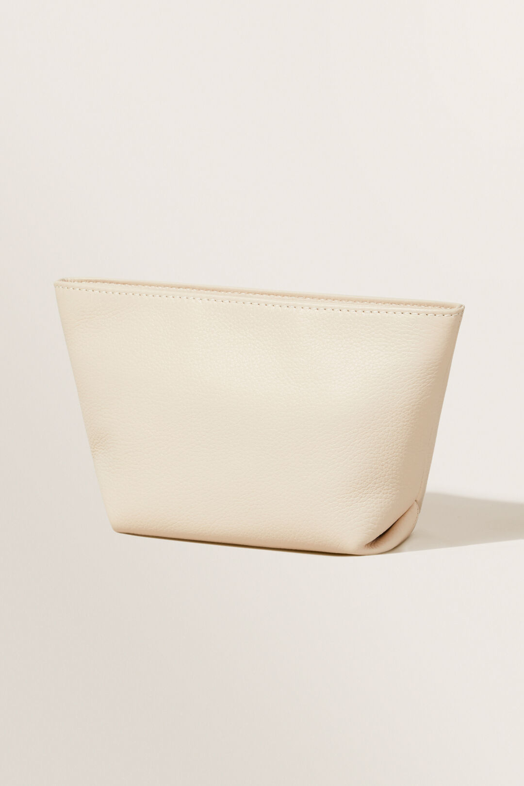 Leather Fold Detail Pouch  Stone  hi-res