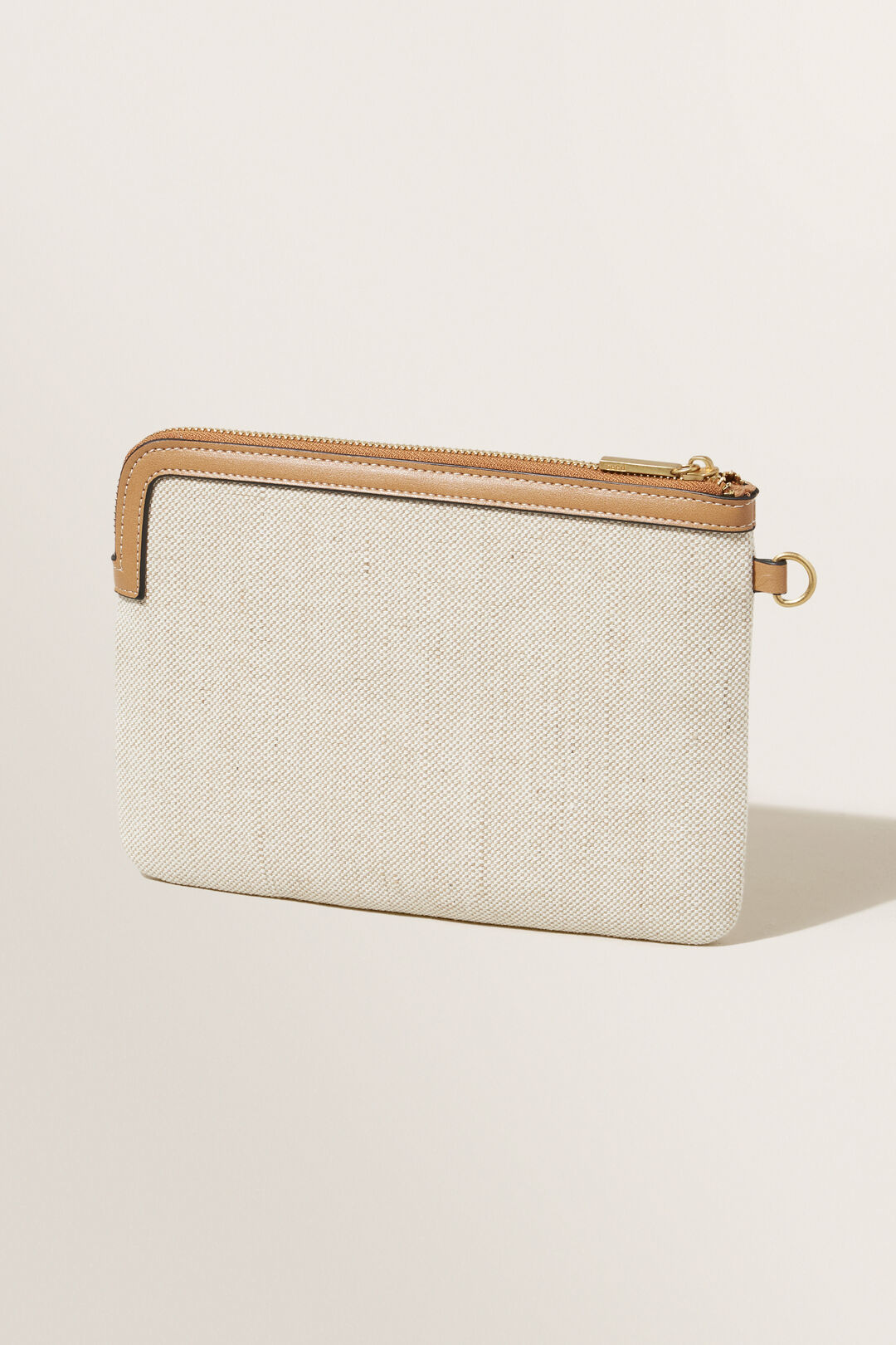 Textured Fabric Pouch  Honey Tan Natural  hi-res
