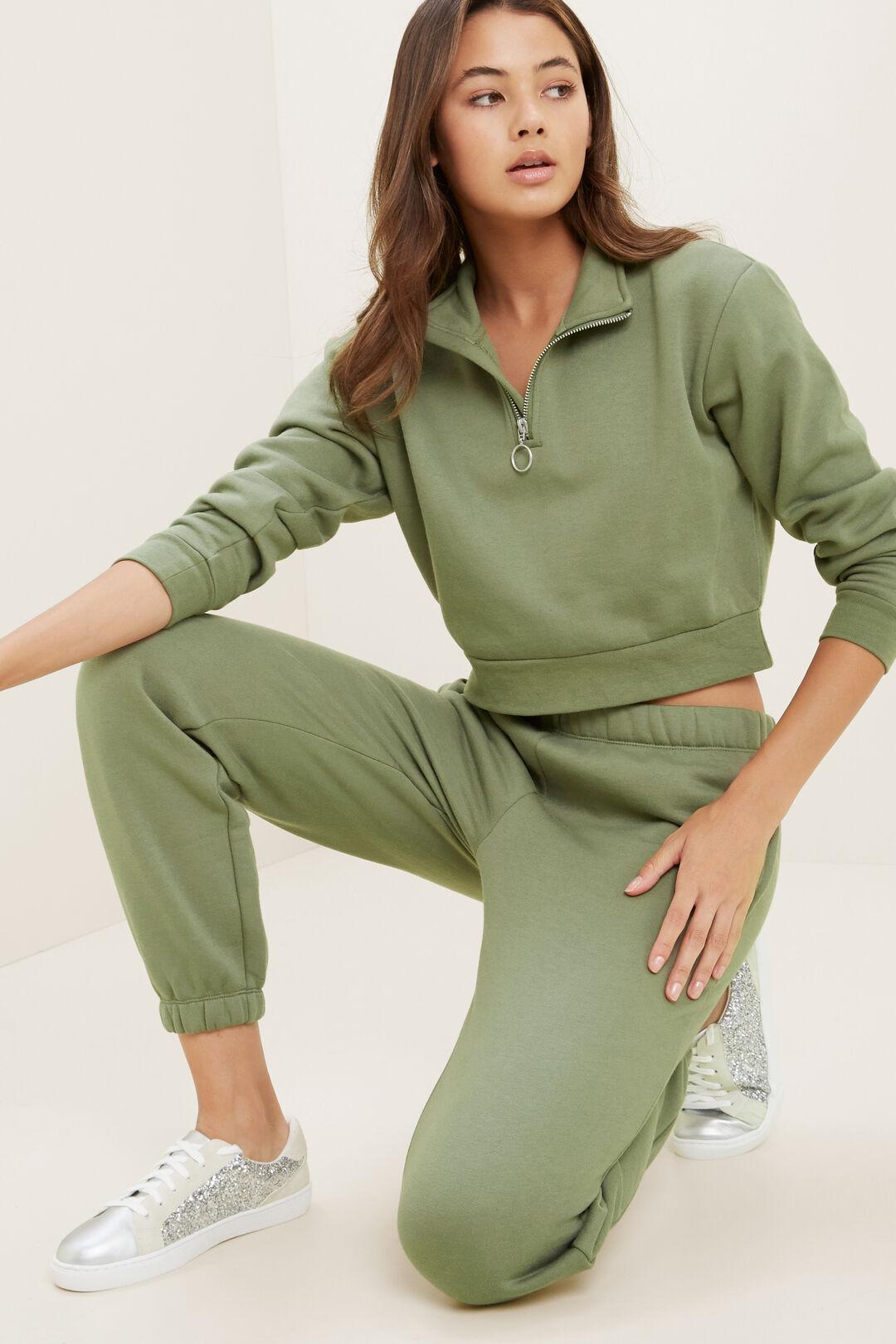 Zip Cropped Sweater  Khaki  hi-res