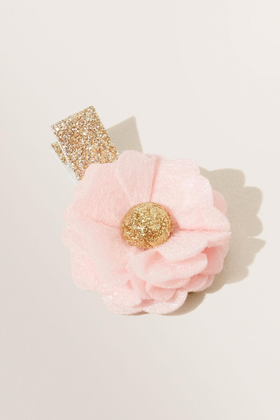 Felt Flower Clips  Dusty Rose  hi-res