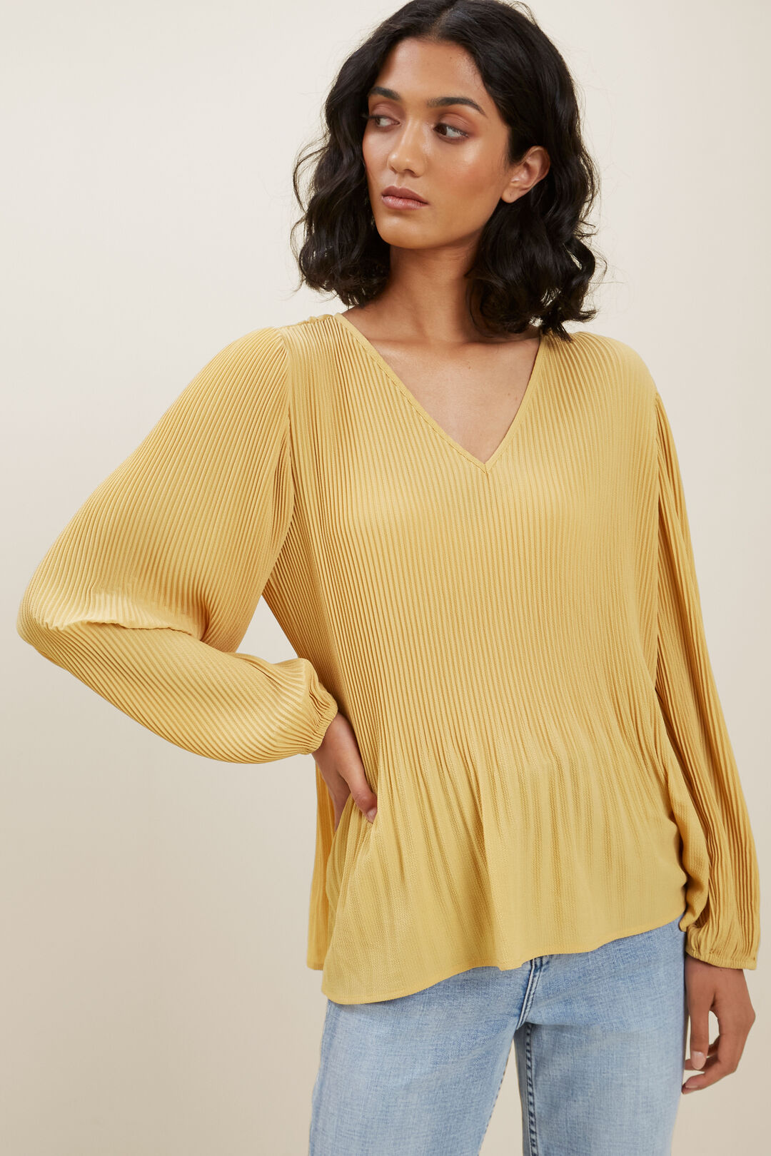 Textured Pleat Blouse  Tuscan Clay  hi-res