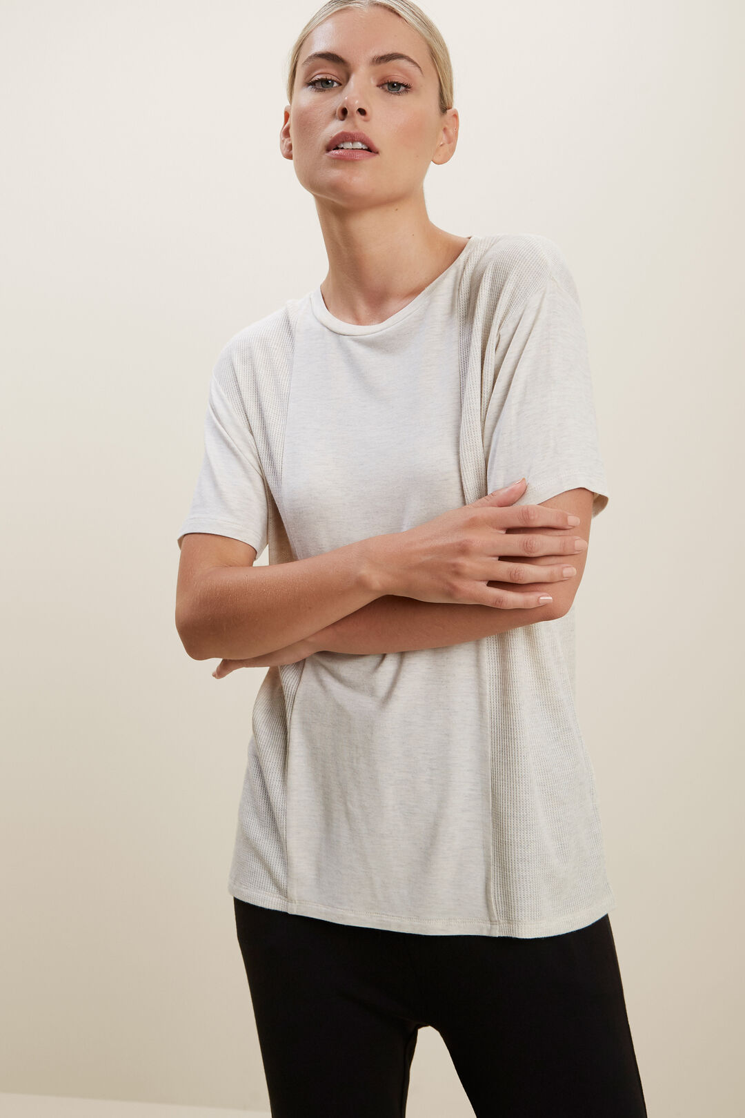 Drapey Insert Tee  Butter Marle  hi-res