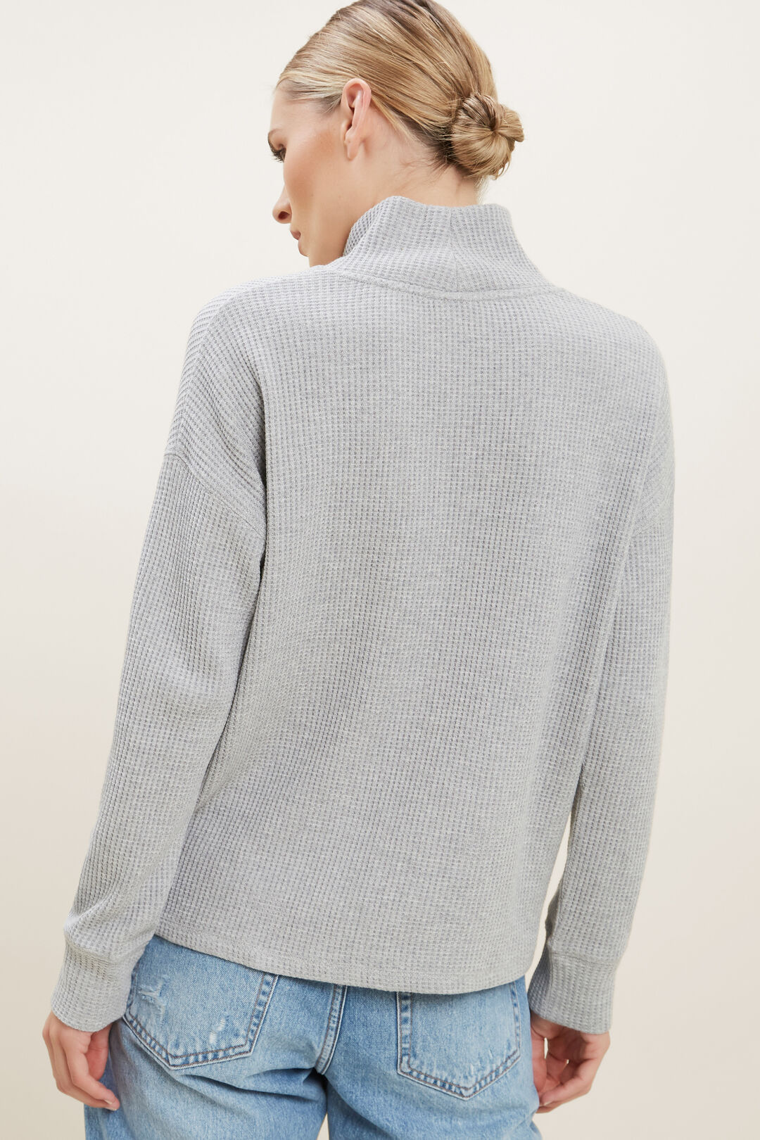 Textured Mock Neck Top  Dim Grey Marle  hi-res