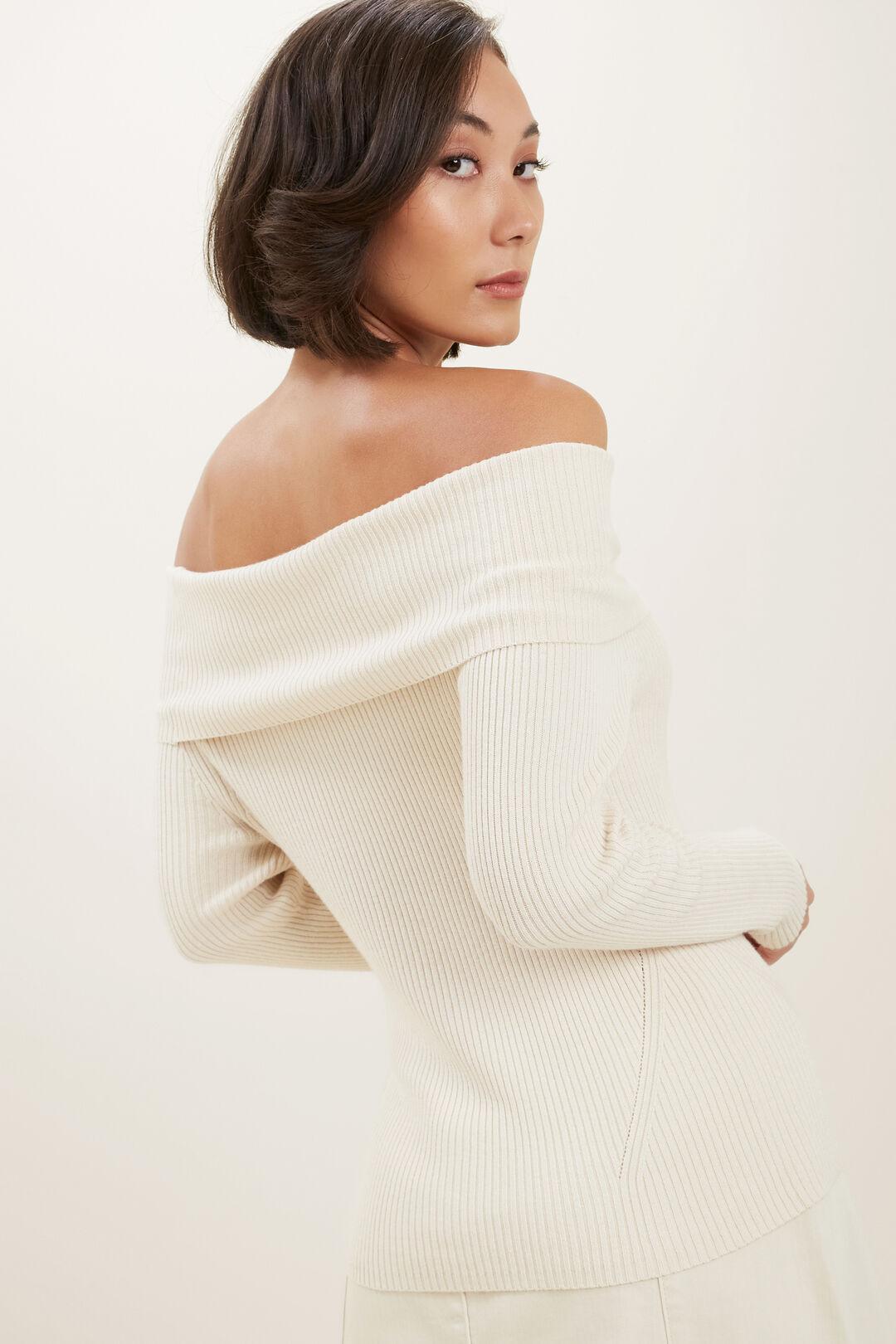 Off Shoulder Knit Top  French Beige  hi-res