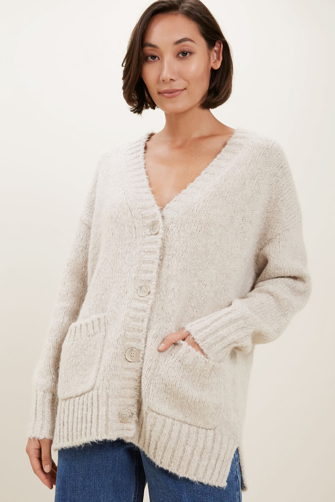 Relaxed Knit Cardi  Fossil Marle  hi-res
