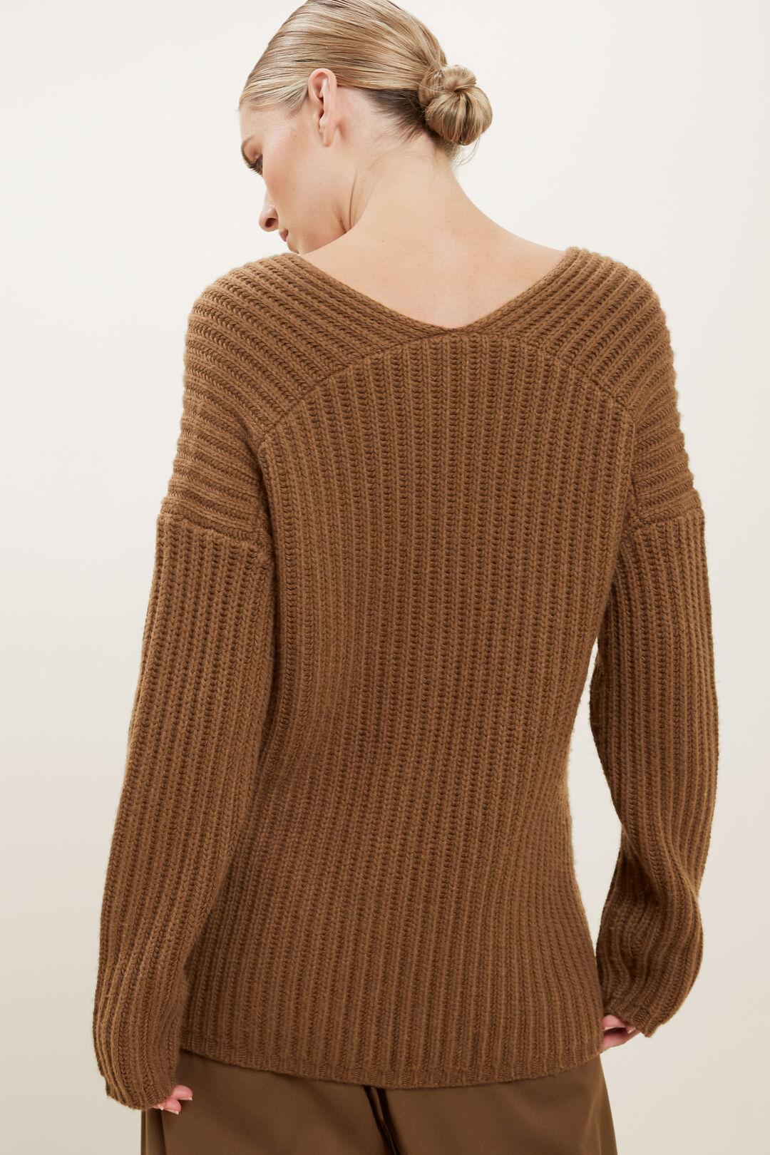 V Neck Rib Sweater  Molasses  hi-res