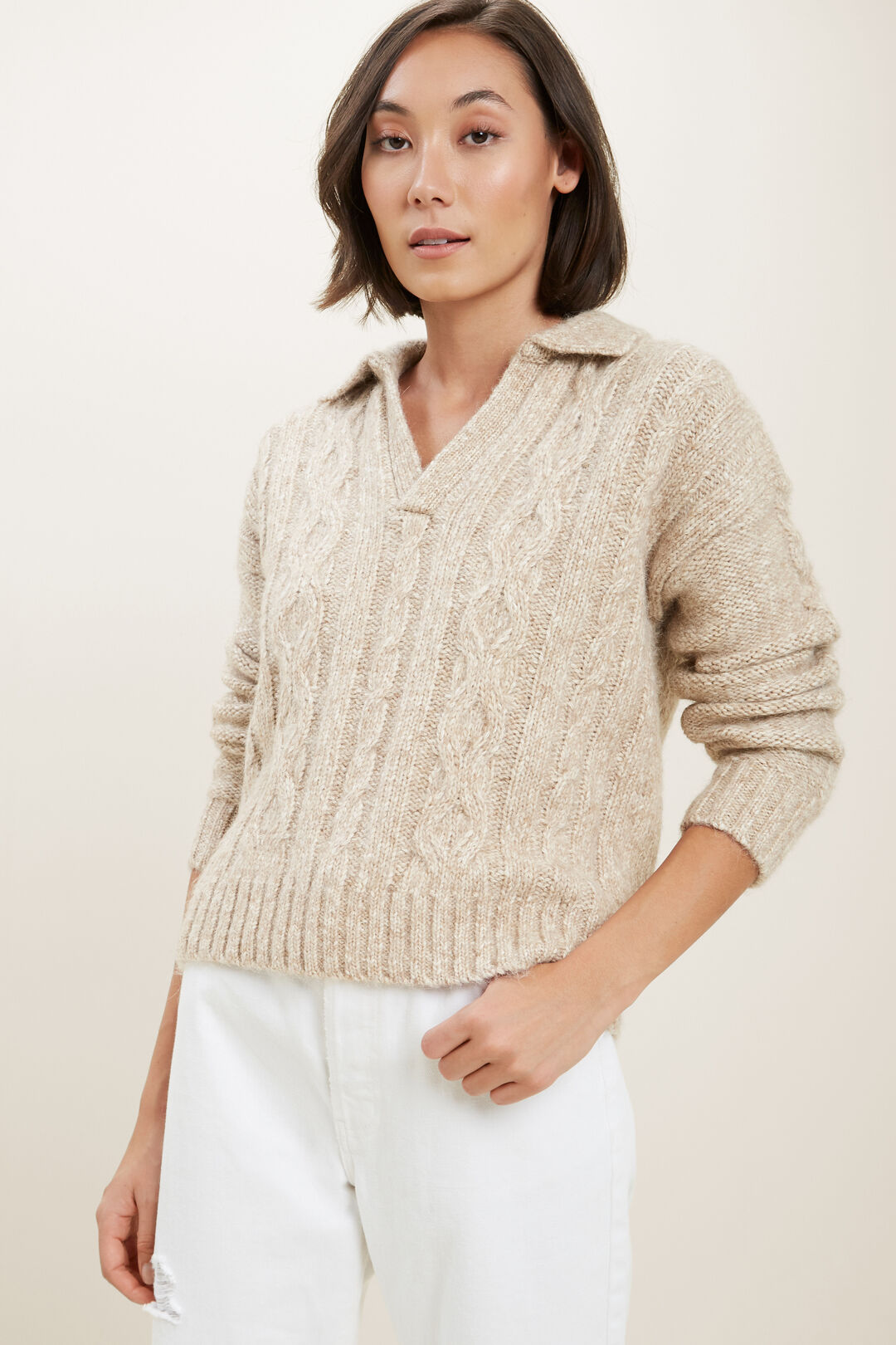 Cable Knit Polo Sweater  Champagne Beige Marle  hi-res