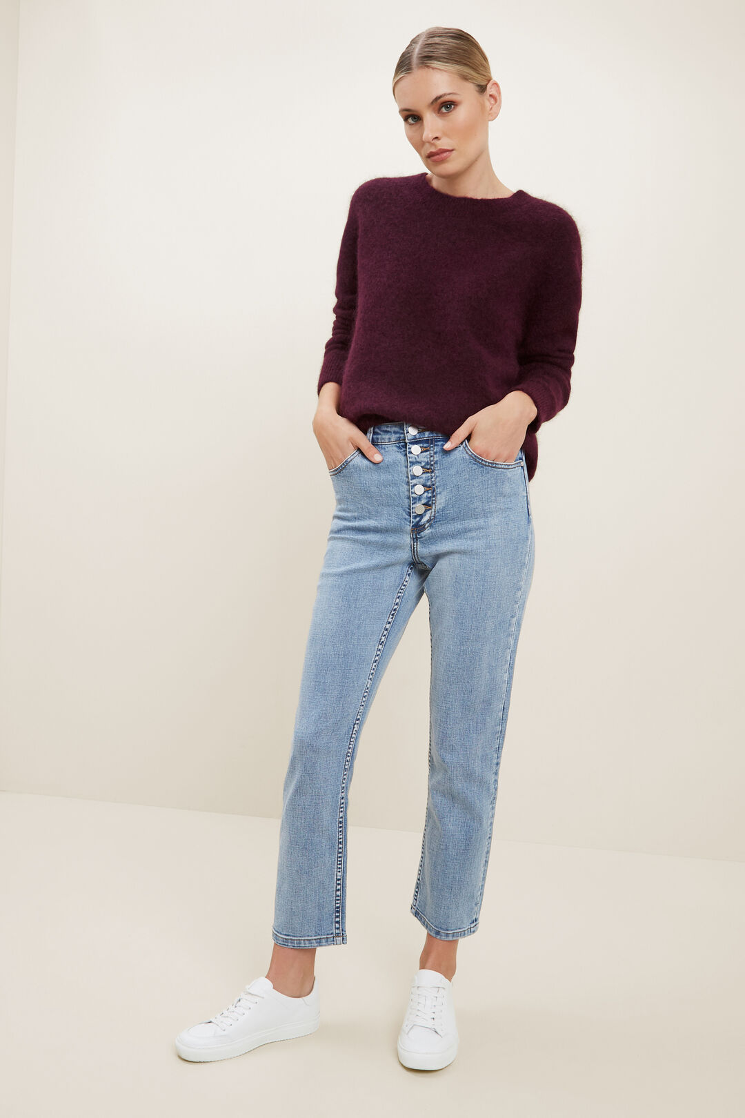Mohair Crew Neck Sweater  Ruby Plum Marle  hi-res