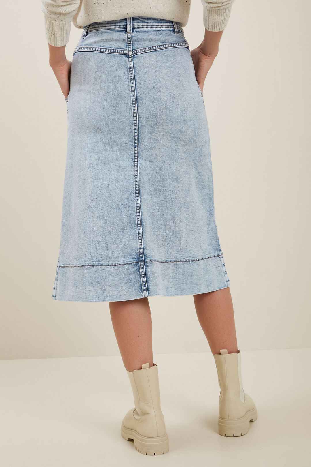 A Line Denim Midi Skirt  90s Vintage Wash  hi-res