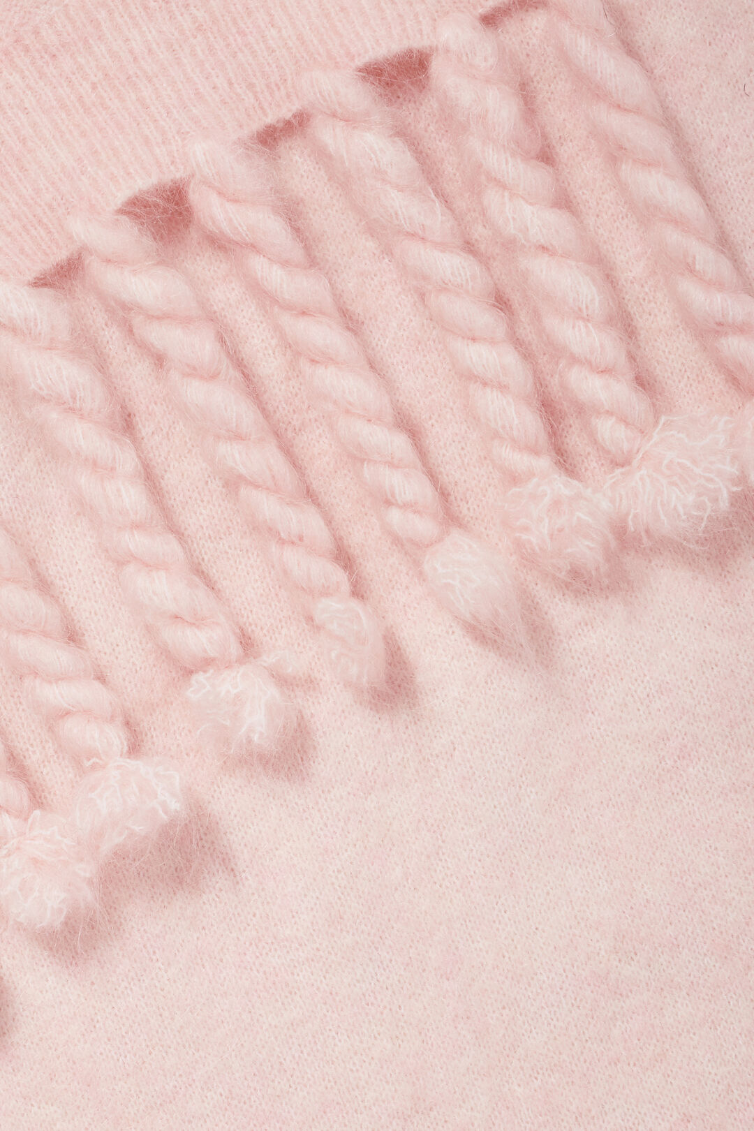 Mohair Tassel Scarf  Ash Pink  hi-res