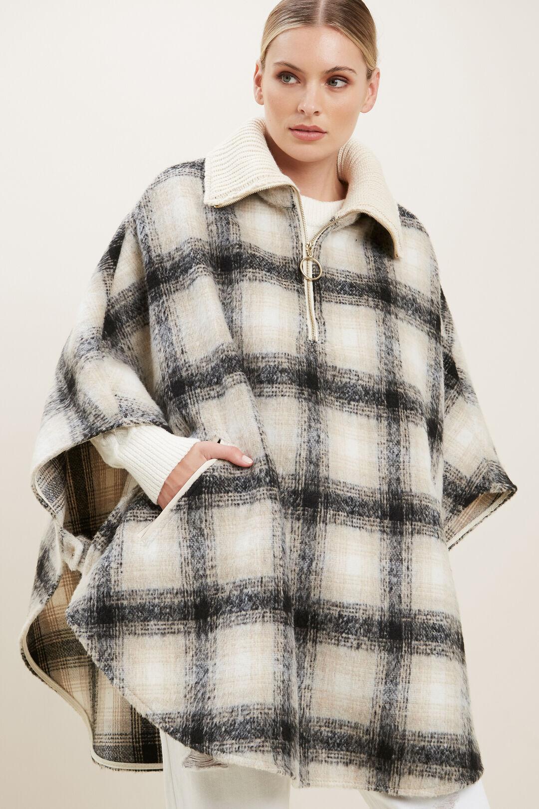 Wool Check Poncho  Cloud Cream Multi  hi-res