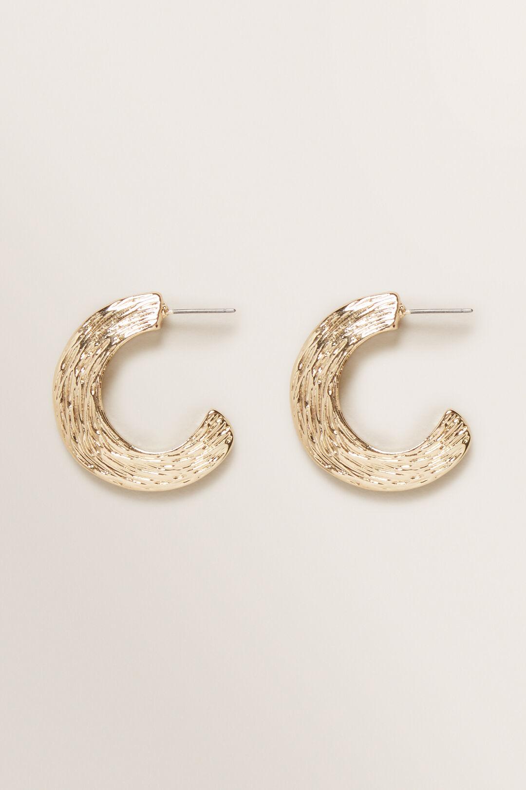 Mini Textured Hoops  Gold  hi-res