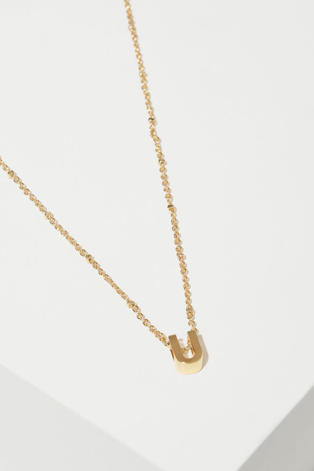 Gold Initial Charm  U  hi-res