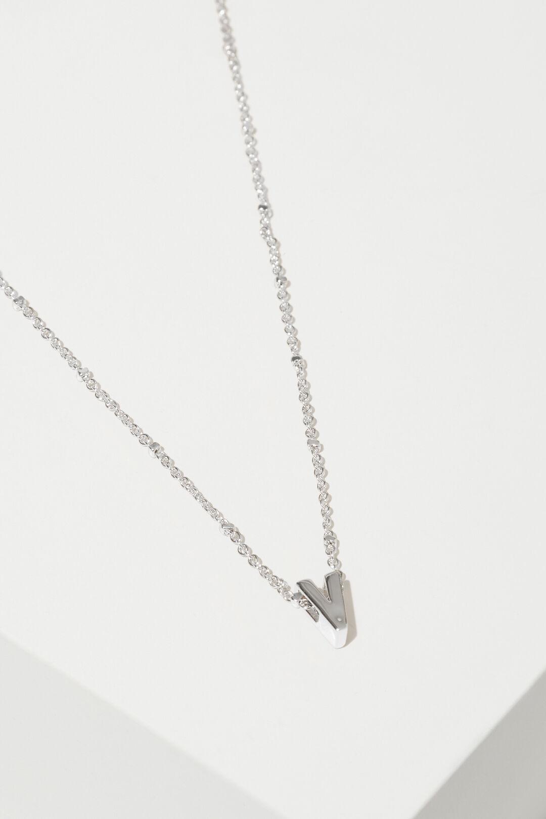 Silver Initial Charm  V  hi-res