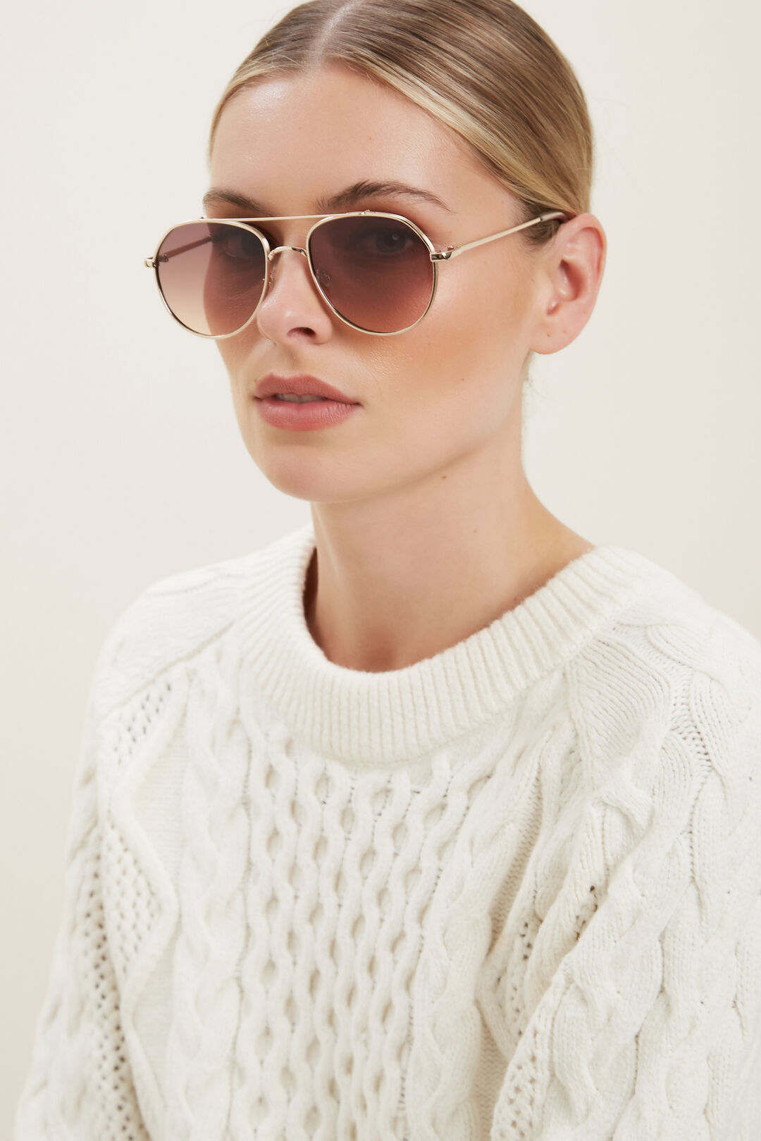 Ashley Metal Sunglasses  Gold  hi-res