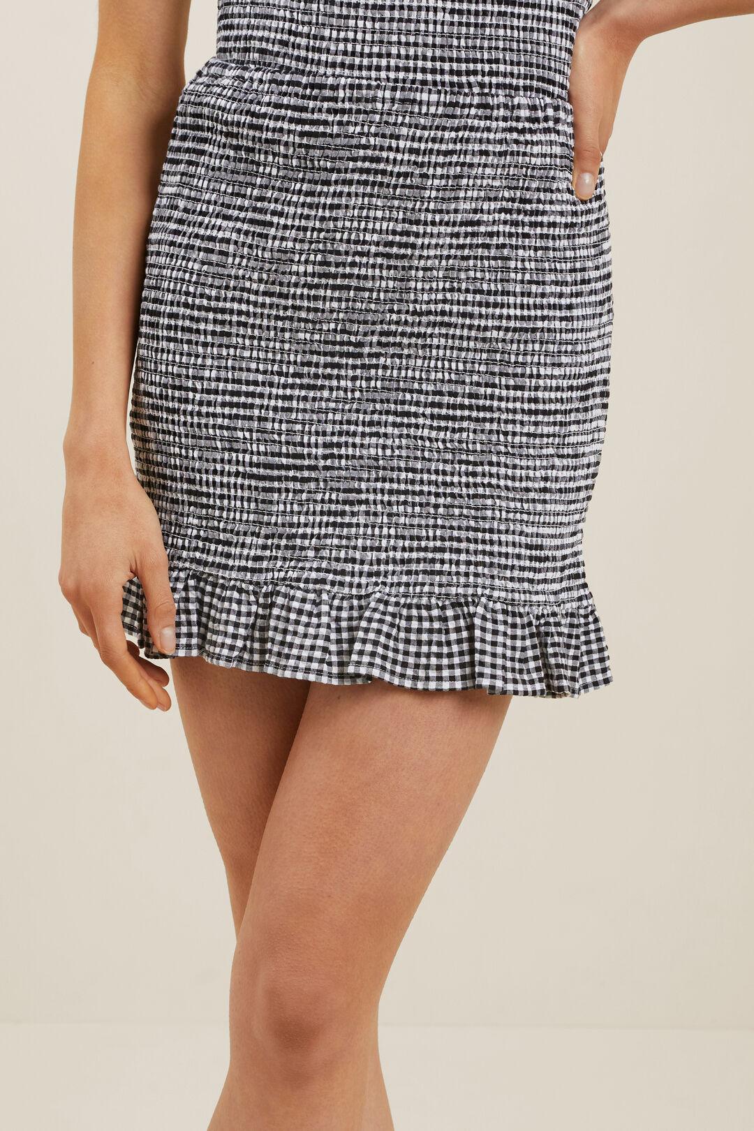 Gingham Shirred Skirt  Black White  hi-res