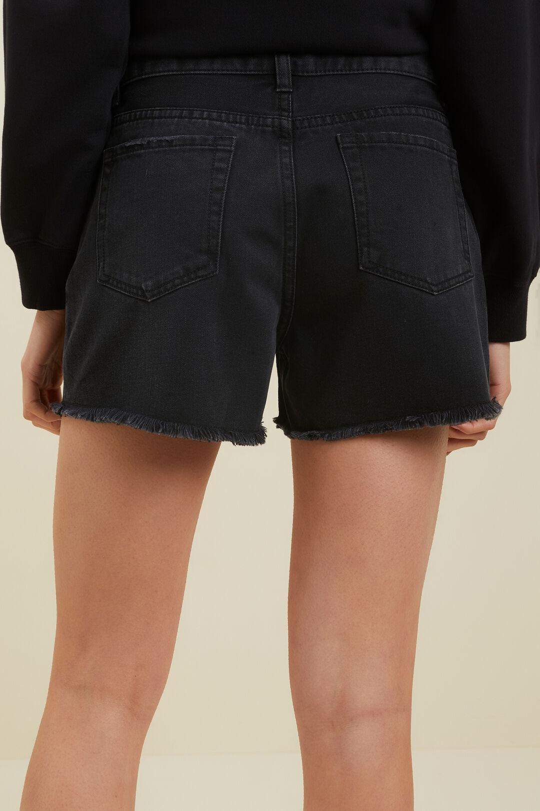 Cut Off Denim Shorts  Washed Black  hi-res
