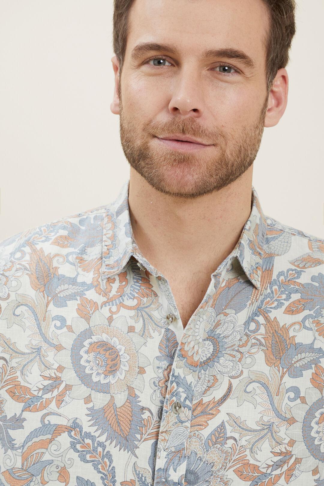 Mens Linen Shirt  Multi  hi-res