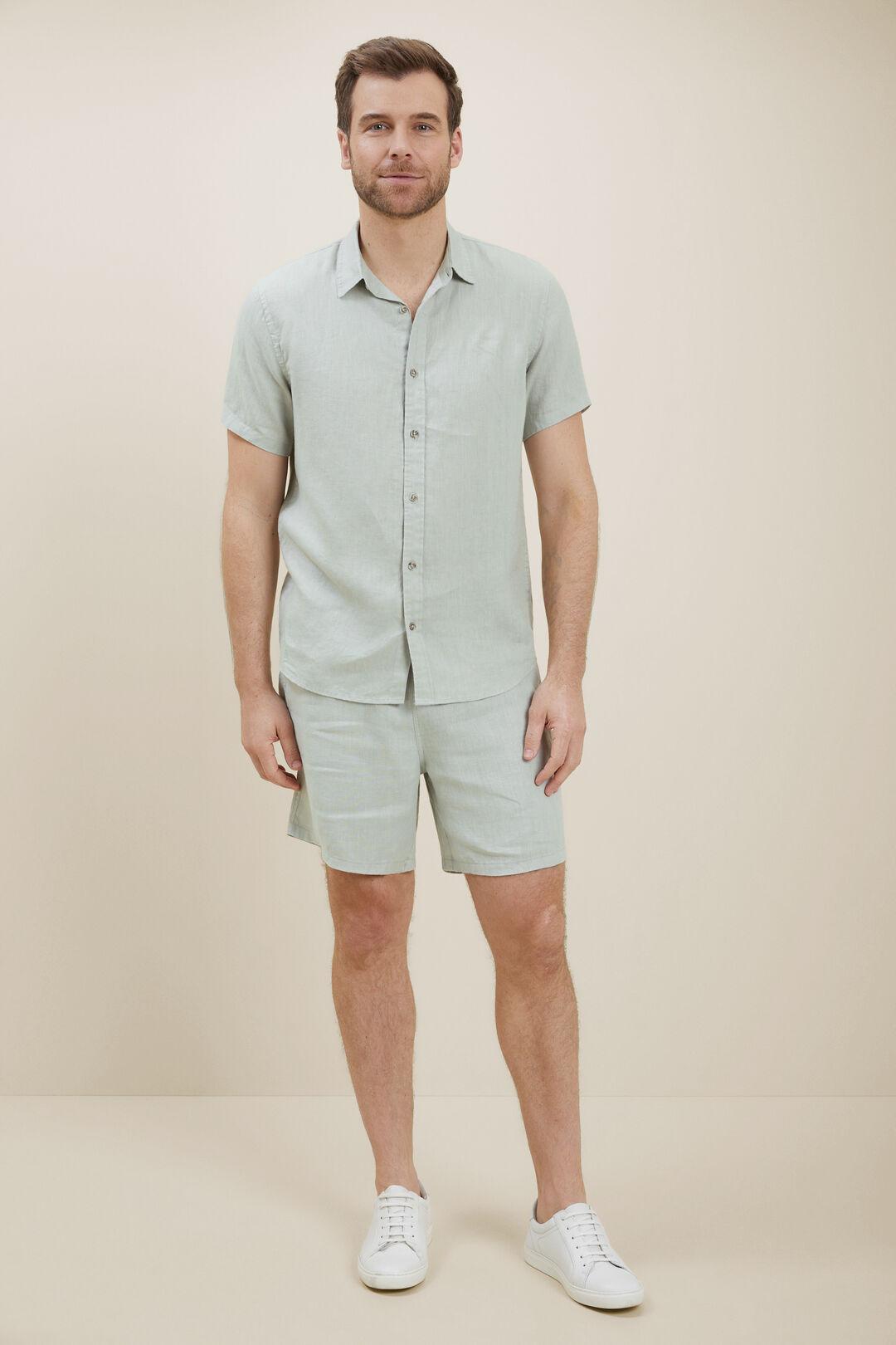 Mens Linen Shirt  Mint  hi-res