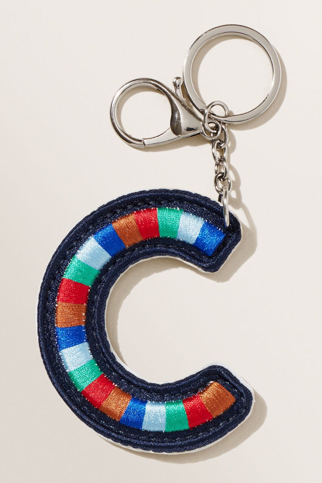 Embroidered Initial Keyring  C  hi-res