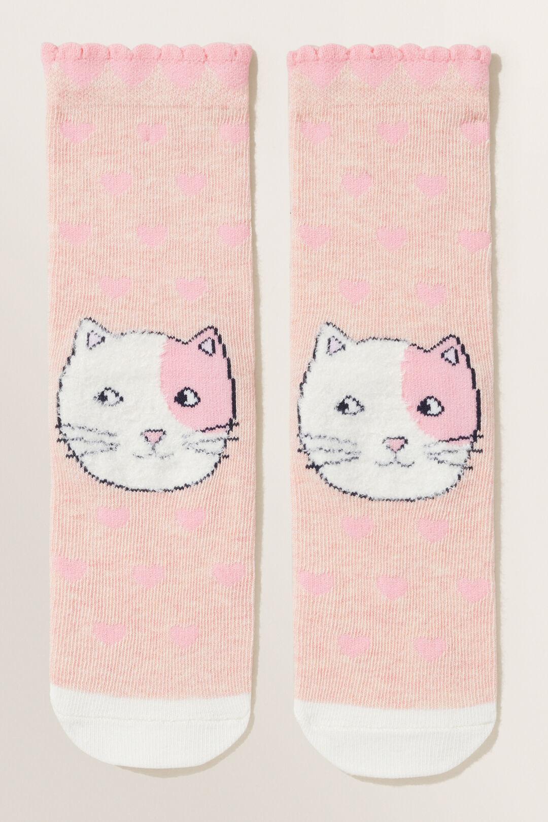 Fluffy Cat Socks  Dusty Rose  hi-res