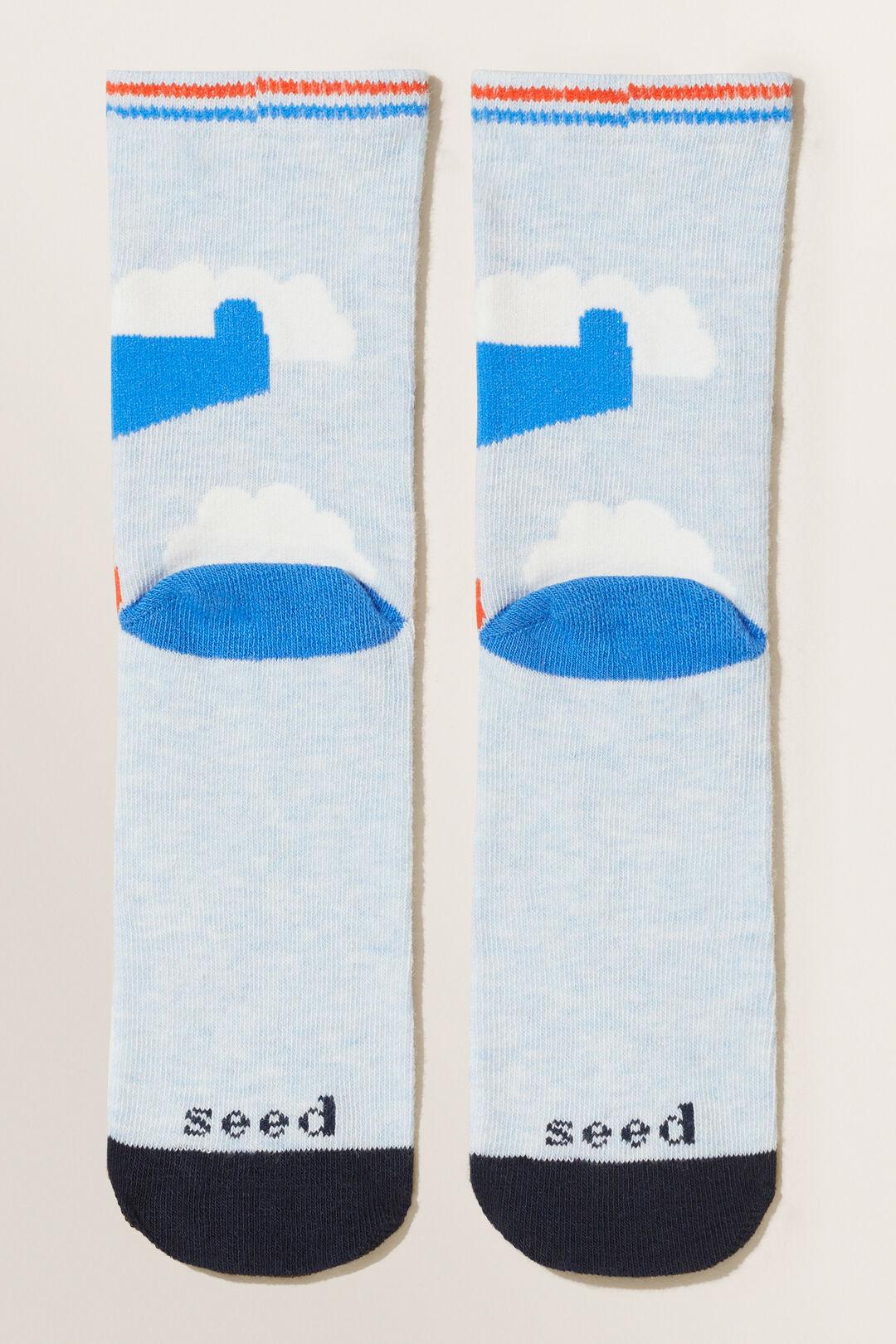 Plane Socks  Blue Marle  hi-res