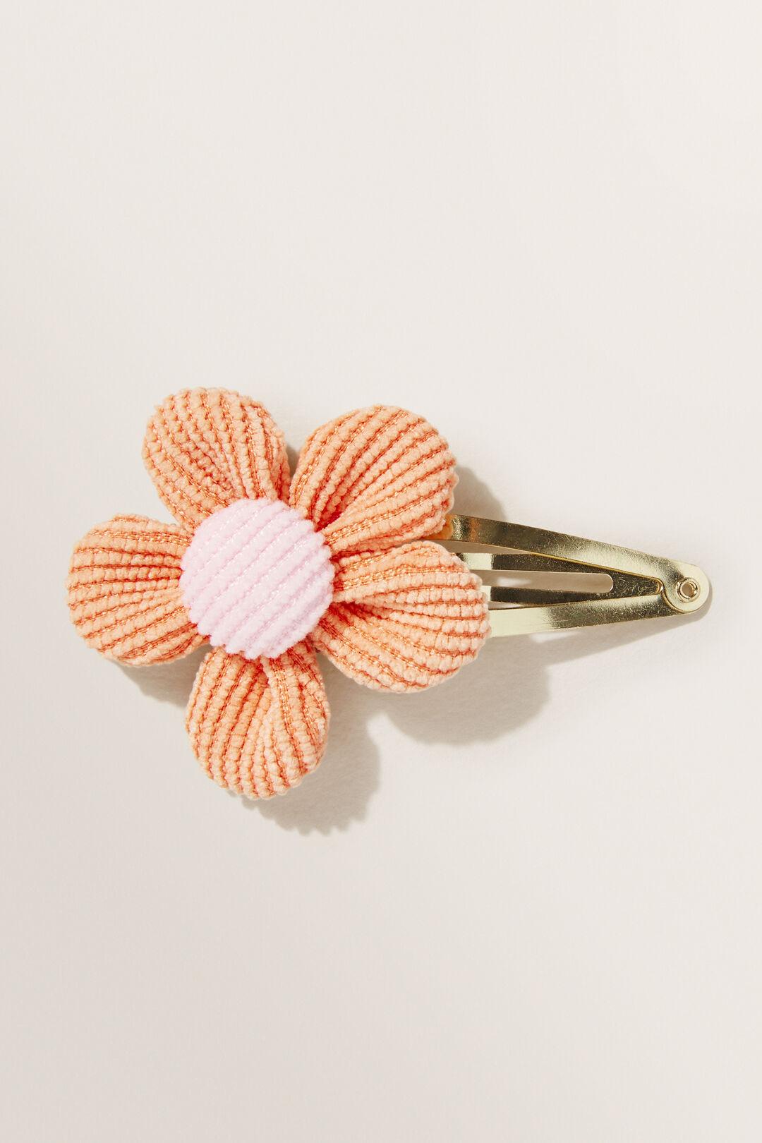 Corduroy Flower Clip  Apricot  hi-res