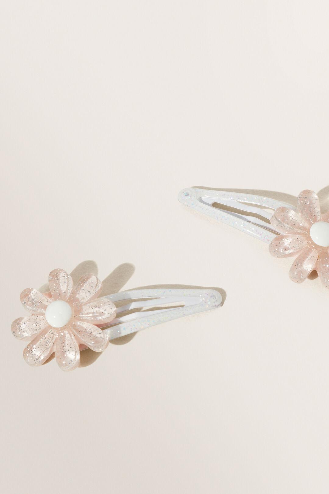 Glitter Daisy Snap Clips  Dusty Rose  hi-res