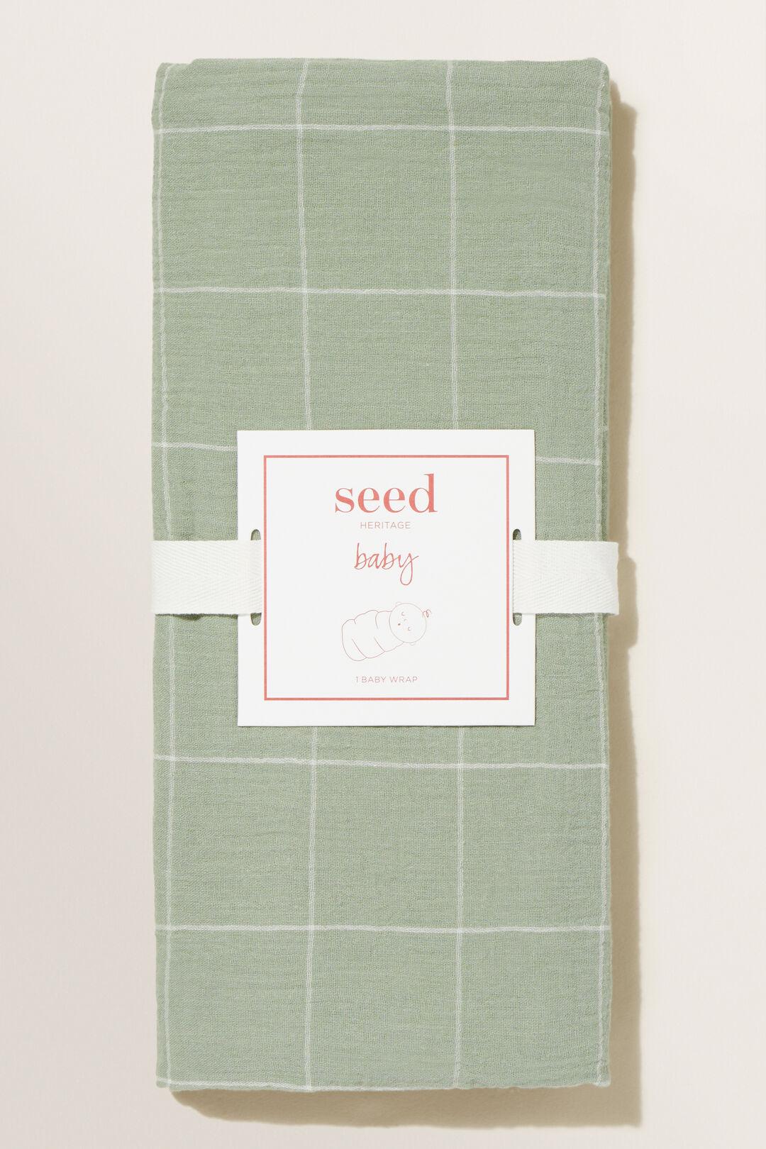 Window Check Muslin Wrap  Olive Leaf  hi-res
