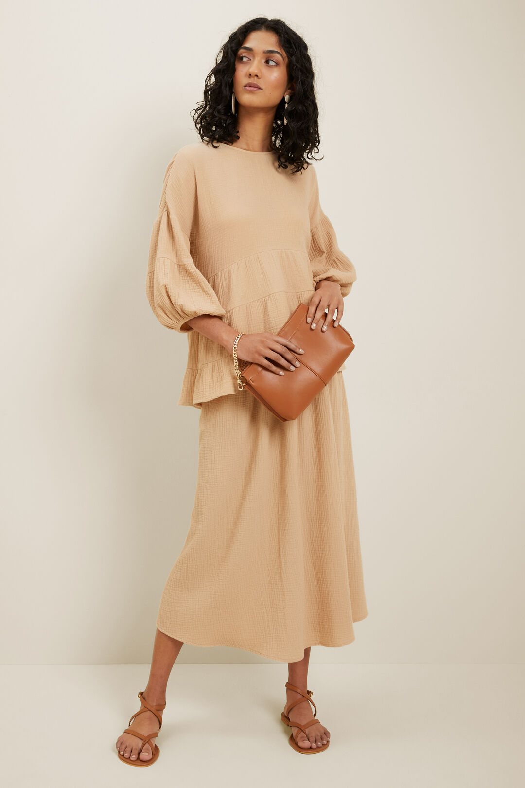 Cheesecloth Smock Top  Neutral Sand  hi-res