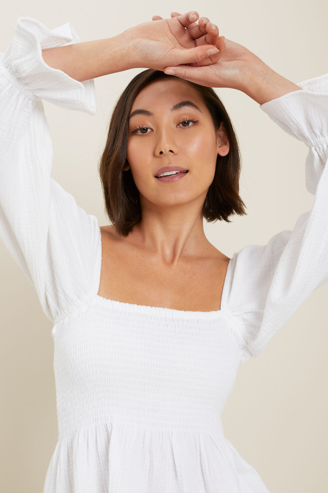 Cheesecloth Shirred Top  Whisper White  hi-res