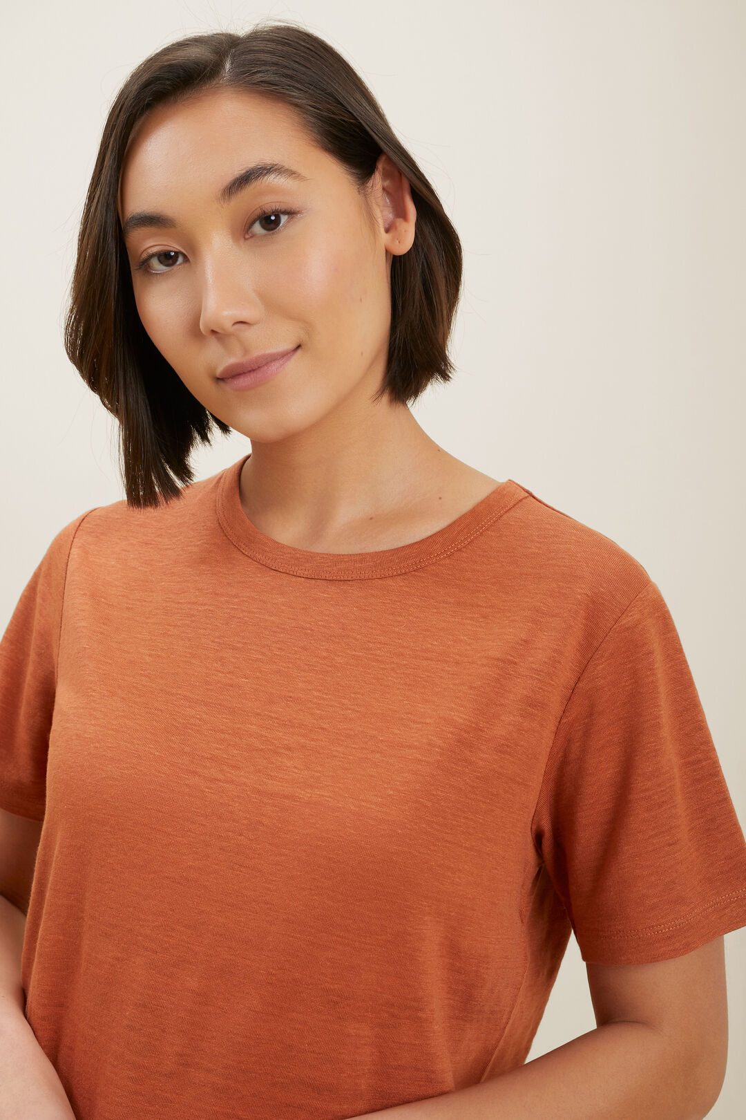 Linen Boxy Tee  Earth Red  hi-res