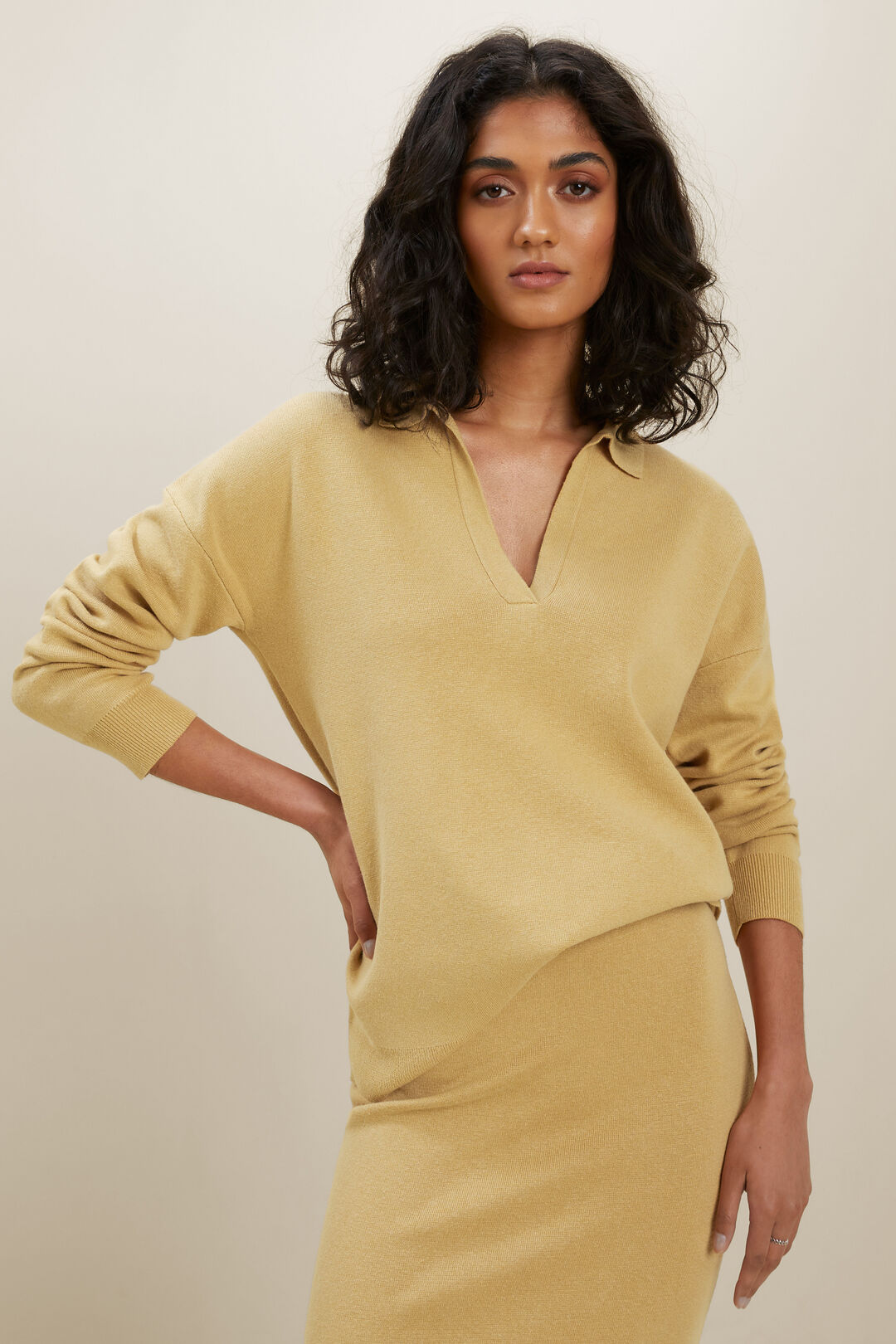 Knit Polo Sweater  Fawn  hi-res