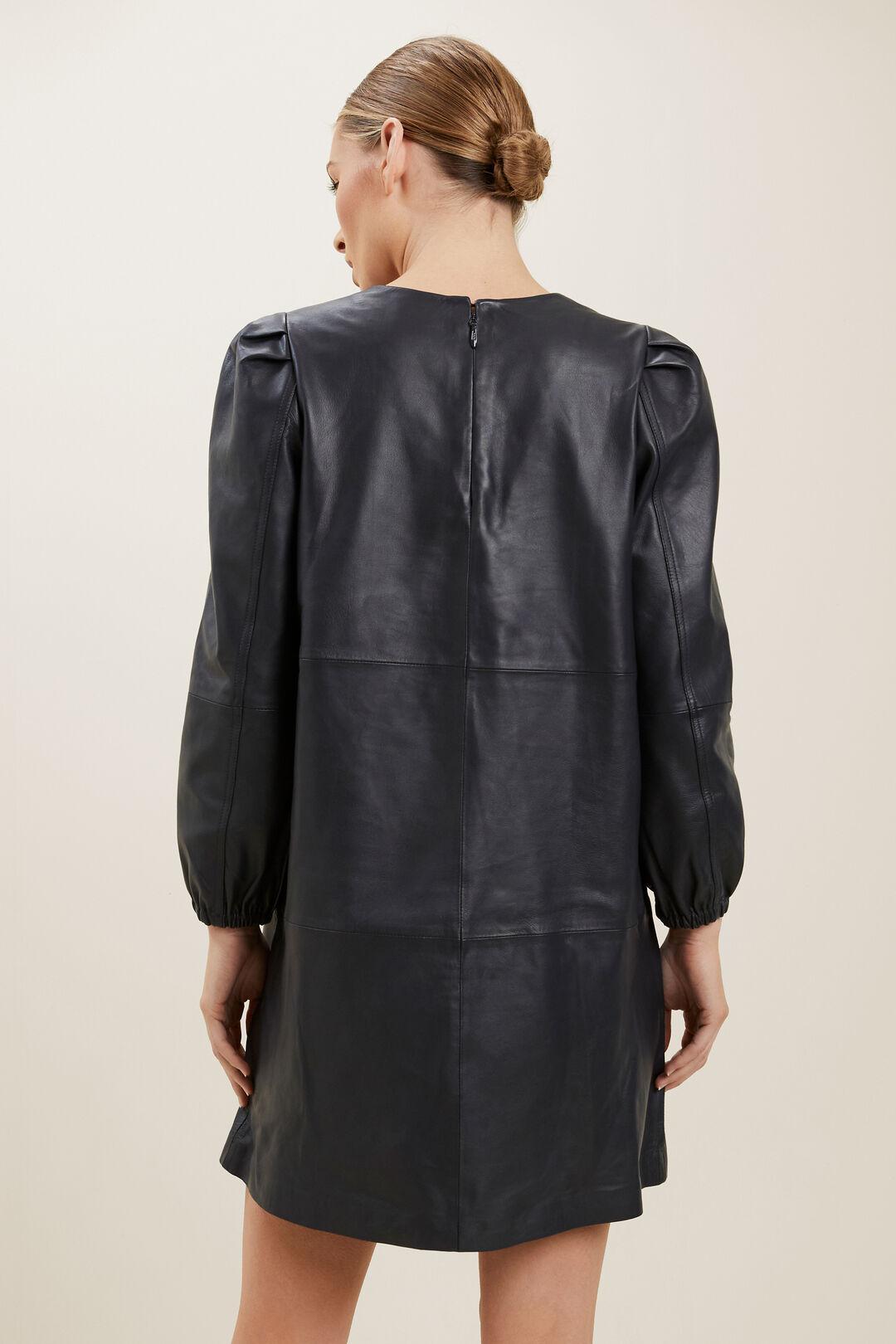 Leather Mini Dress  Deep Navy  hi-res