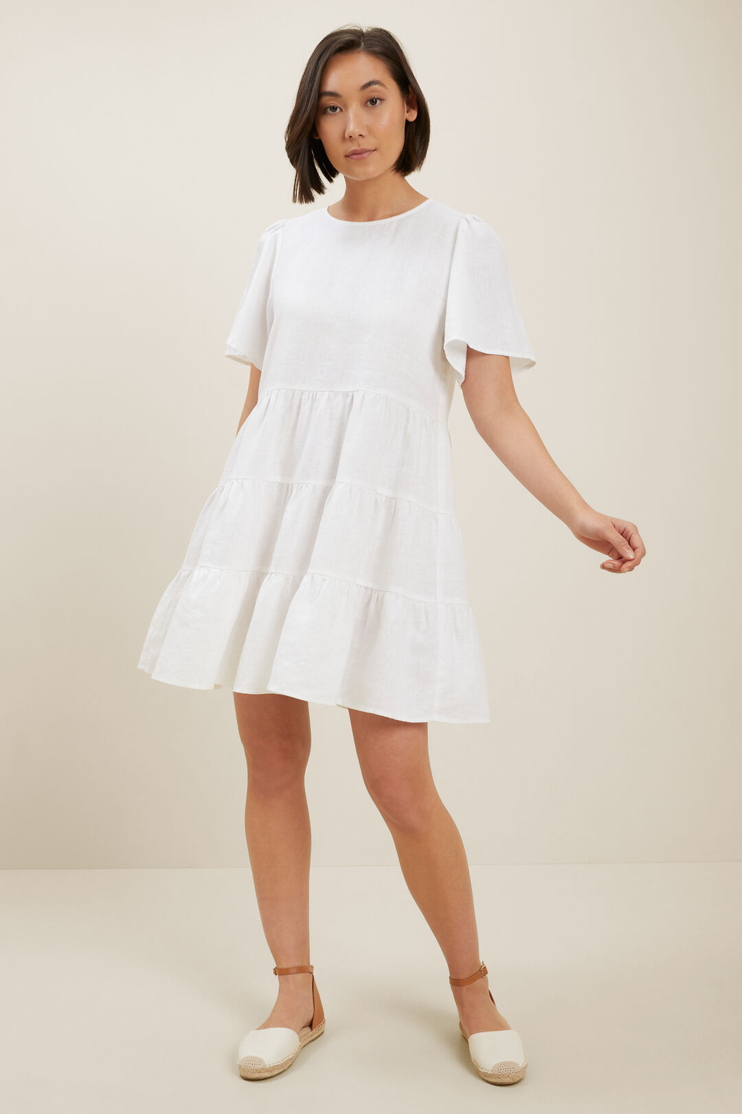 Core Linen Tiered Dress  Whisper White  hi-res
