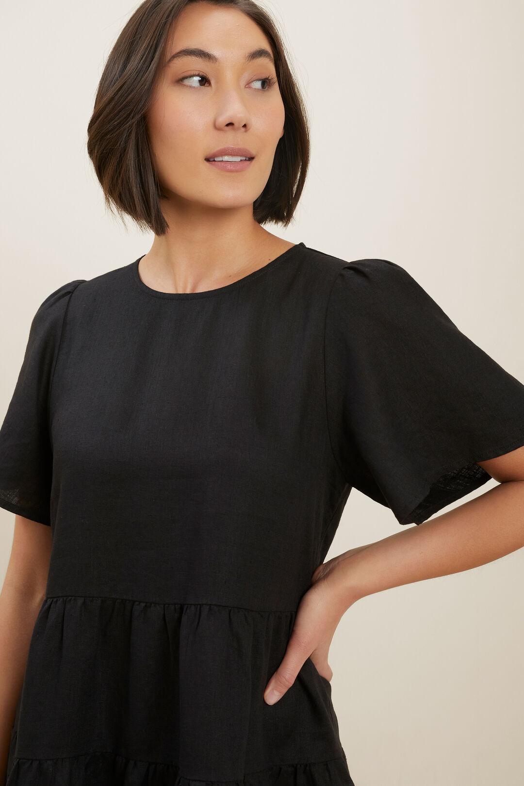 Core Linen Tiered Dress  Black  hi-res