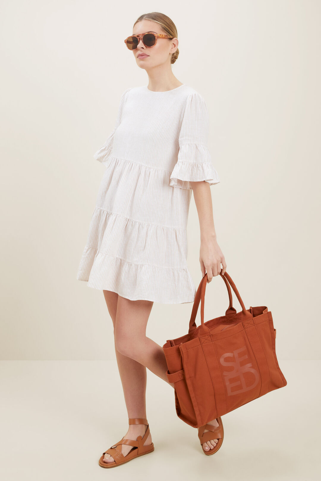 Linen Stripe Dress  Neutral Sand Stripe  hi-res