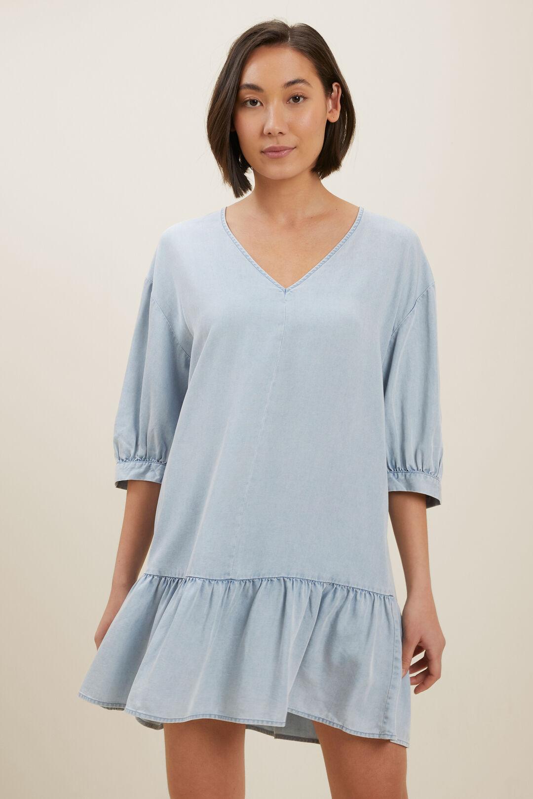 Tencel Mini Dress  Light Retro Blue  hi-res