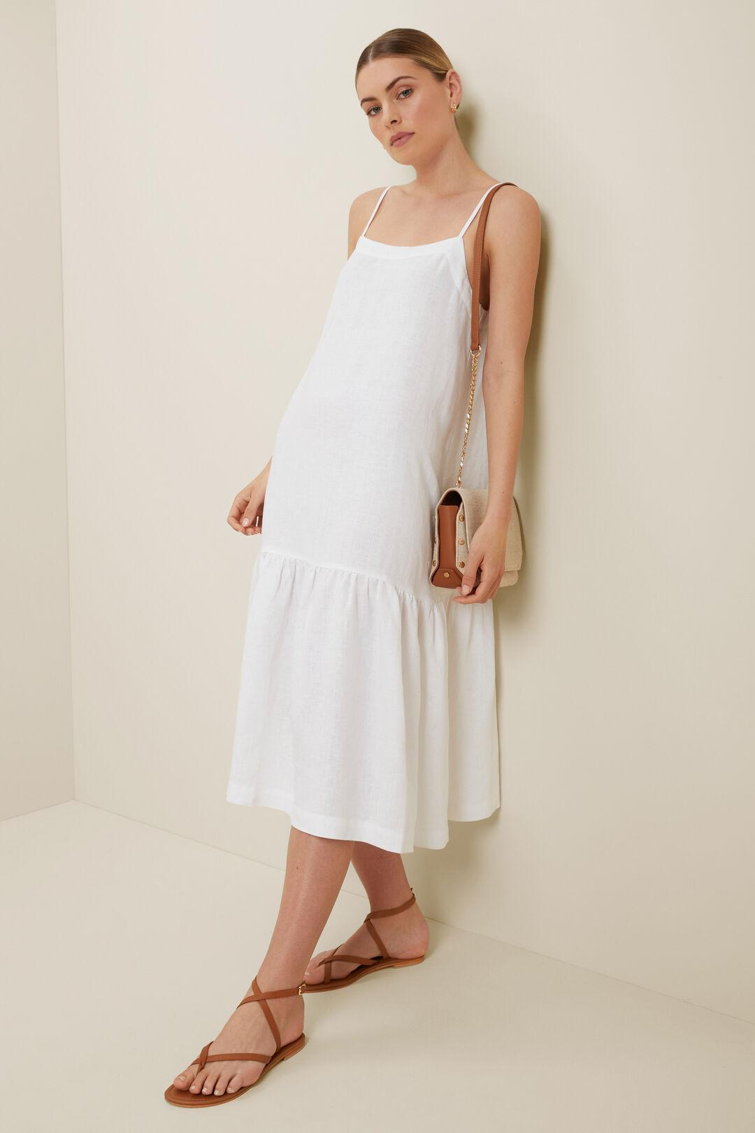 Core Linen Full Hem Midi Dress  Whisper White  hi-res