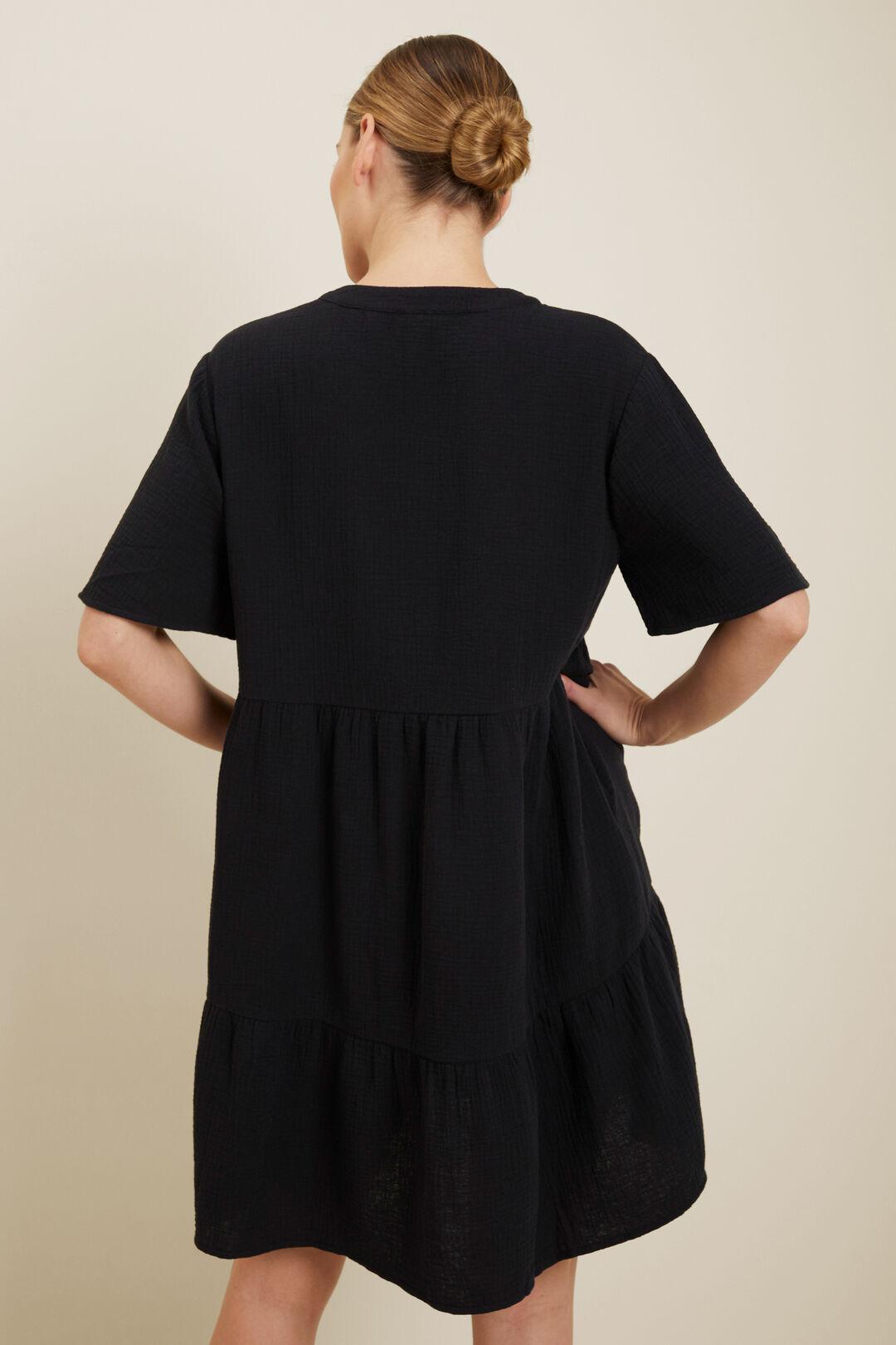 Tiered V Neck Mini Dress  Black  hi-res