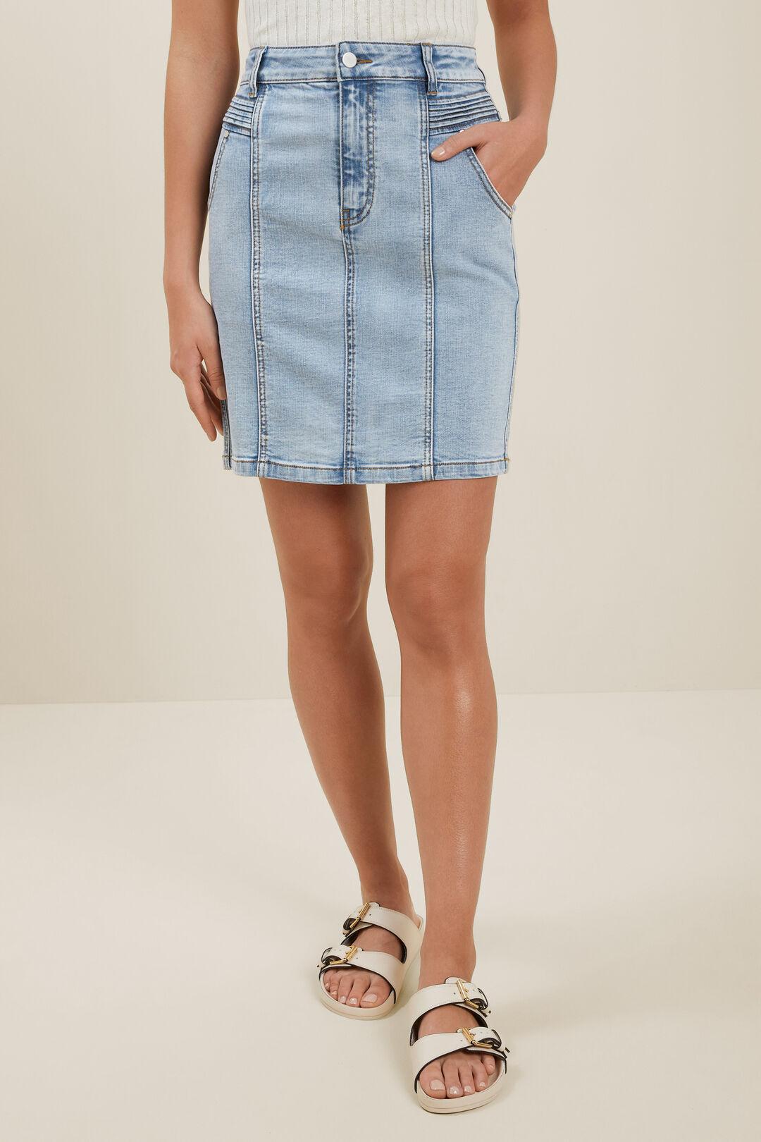 Denim Pintuck Mini Skirt  Washed Blue Denim  hi-res