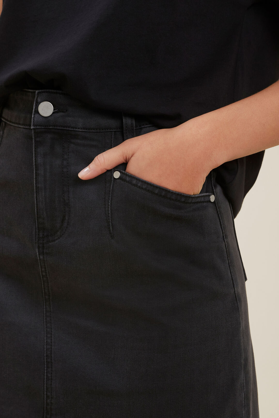 Core Denim A-Line Mini Skirt  Washed Black  hi-res
