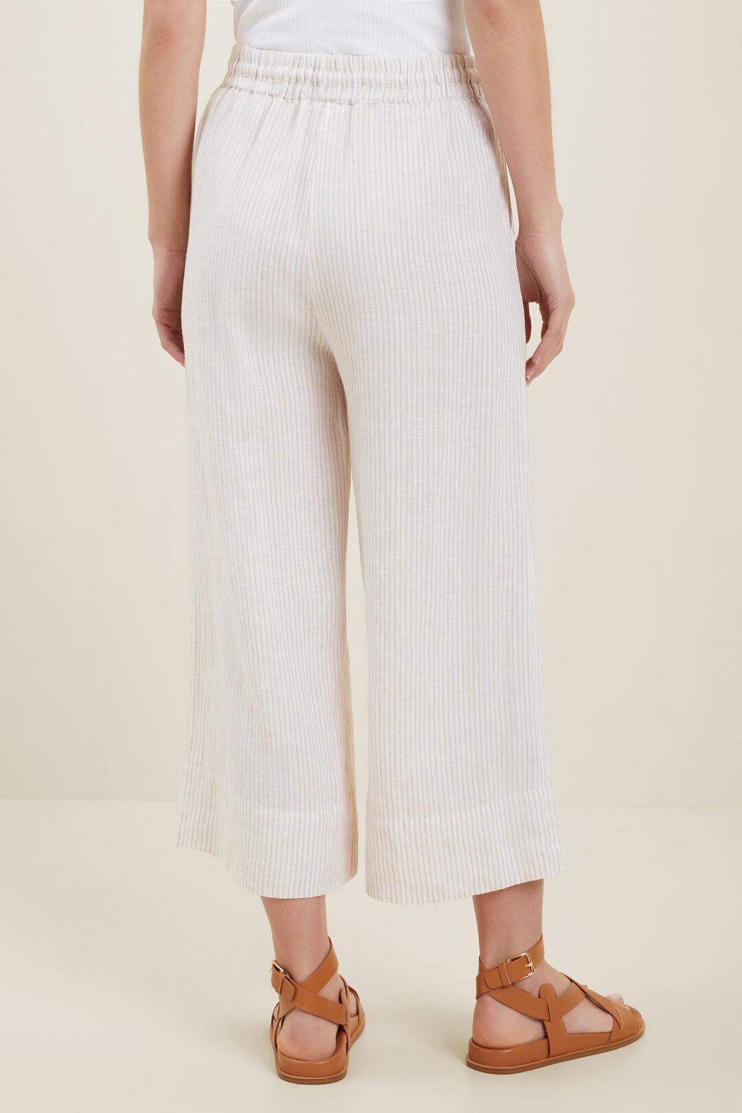 Linen Culottes  Neutral Sand Stripe  hi-res