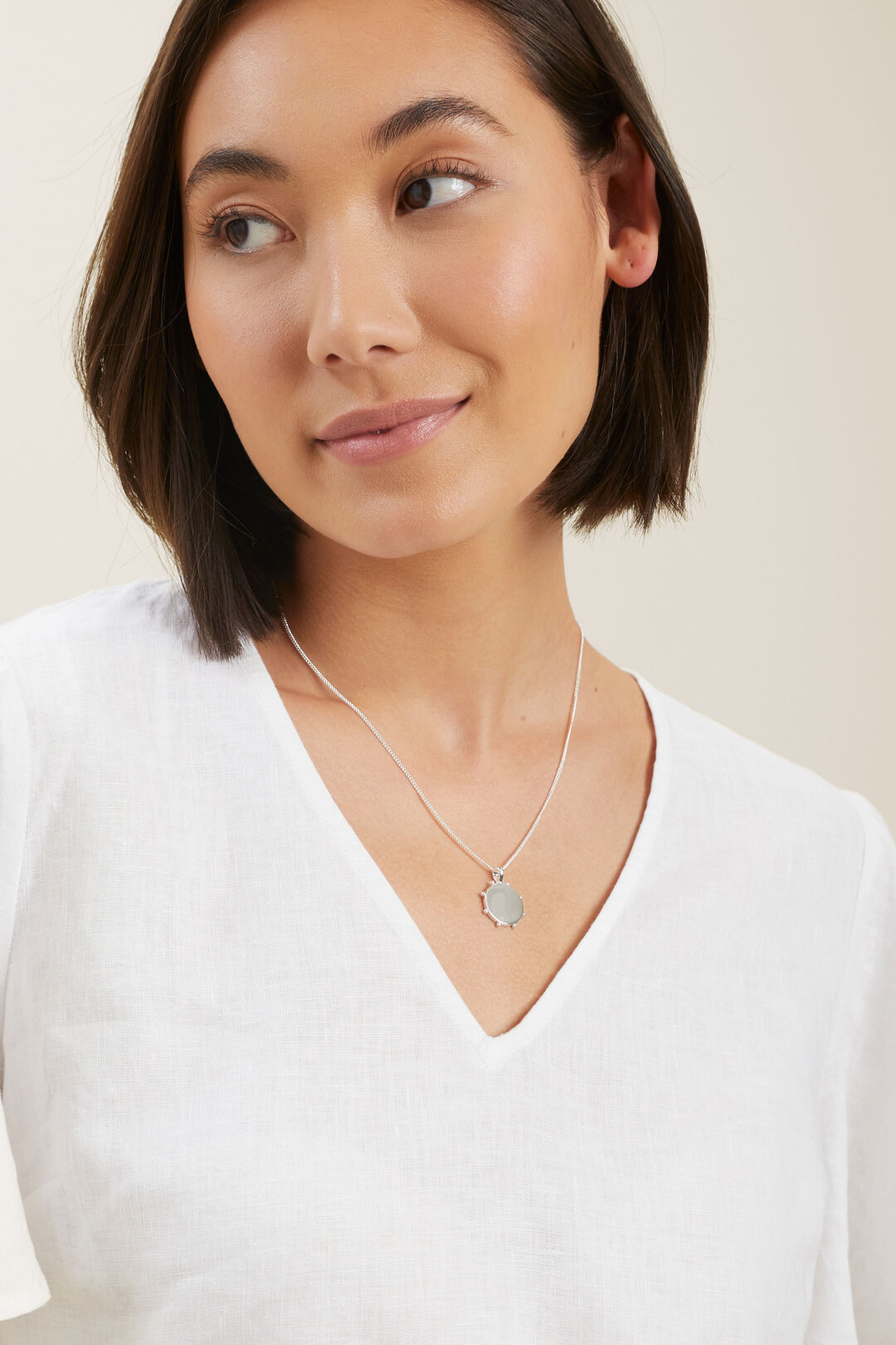 Studded Pendant Necklace  Silver  hi-res