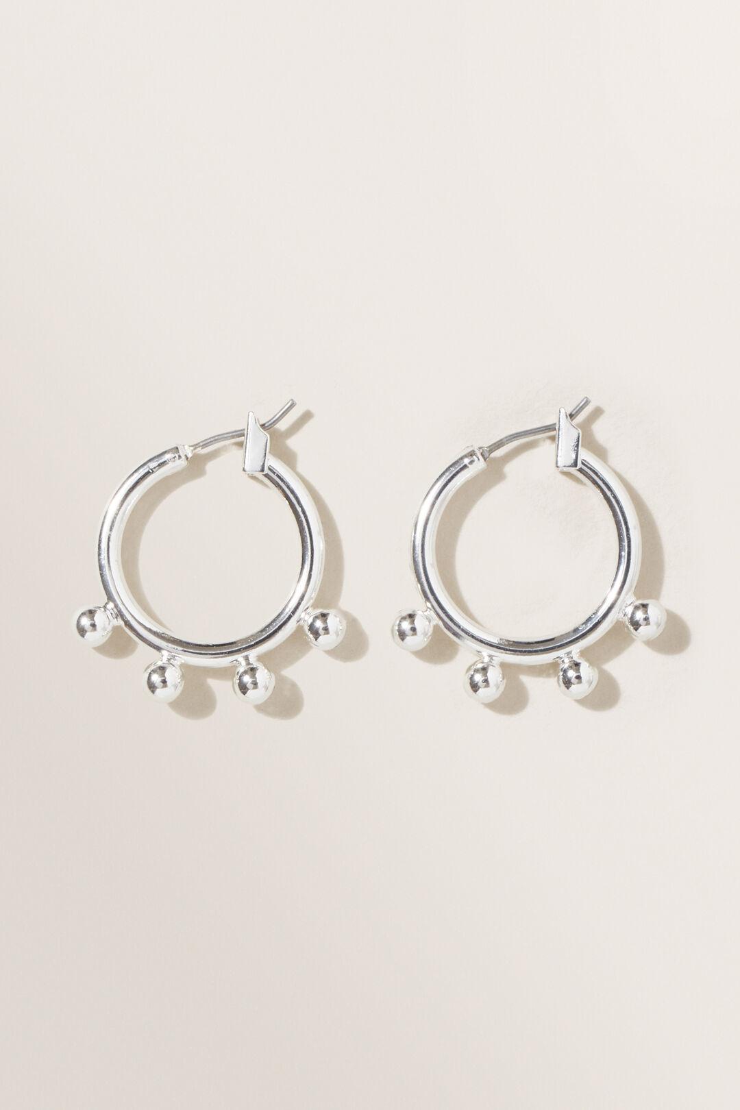 Studded Hoop Earrings  Silver  hi-res