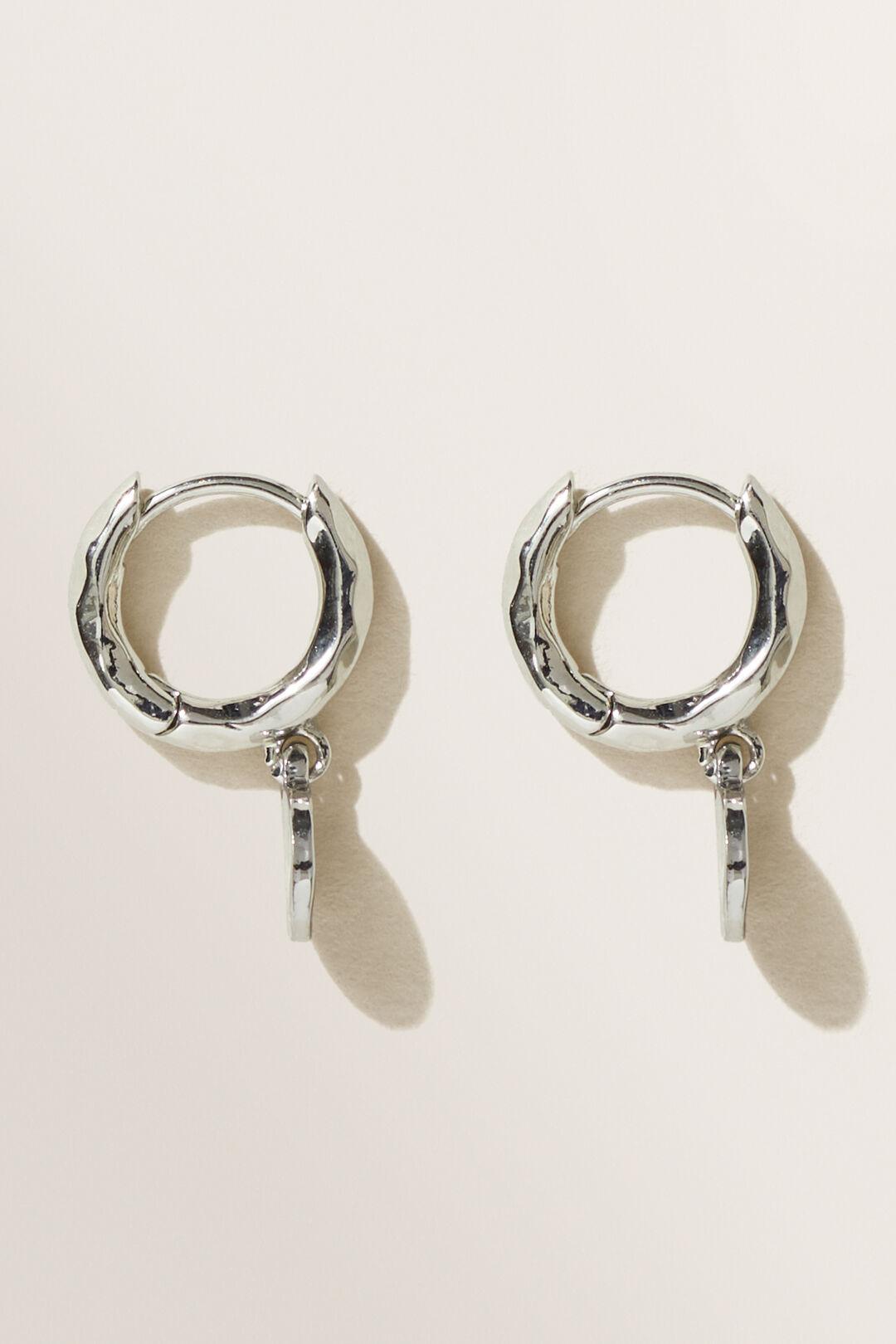 Drop Disc Huggie Earrings  Silver  hi-res