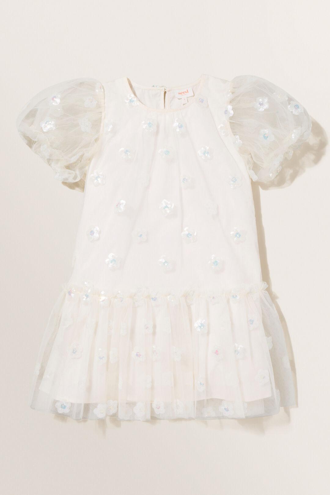 Daisy Sequin Dress  Creme  hi-res