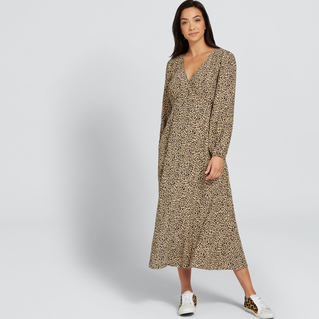 V-Neck Animal Dress    hi-res